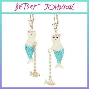 Betsey Johnson Purmaid Fishing Earrings